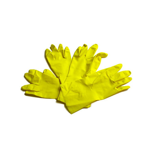 Latex Flock-Lined Gloves, Yellow (12/12)