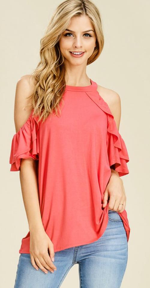 Coral Ruffled Cold Shoulder Top