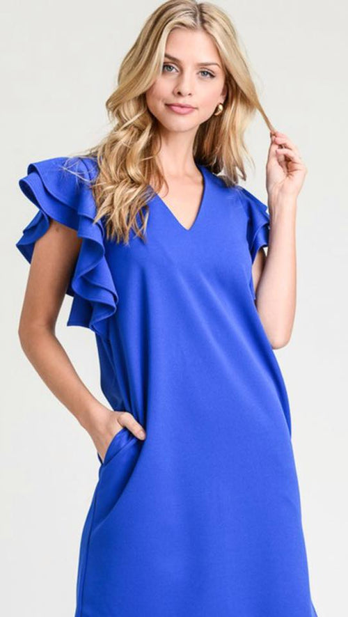 Blue Ruffled Sleeves Dress