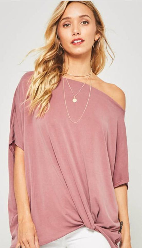 Mauve Off The Shoulder Top