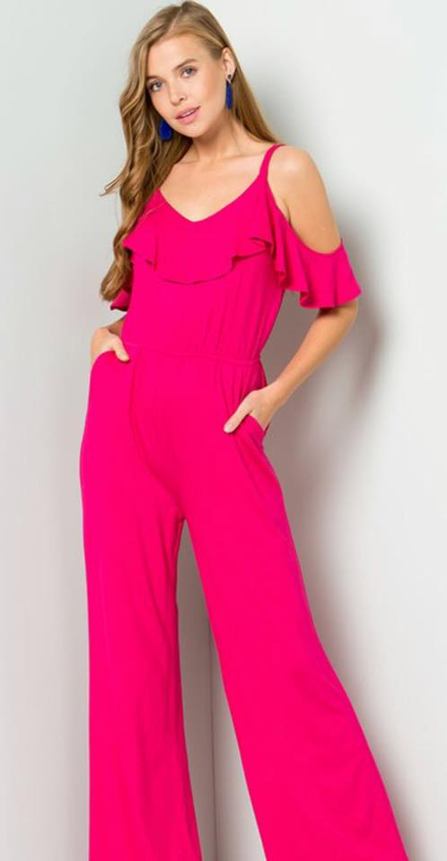 Pink Ruffled Jumpsuit