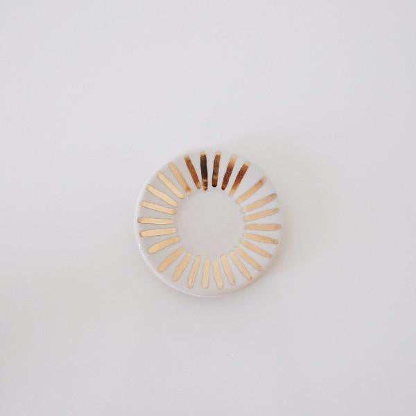White + Gold Sunburst Ring Dish