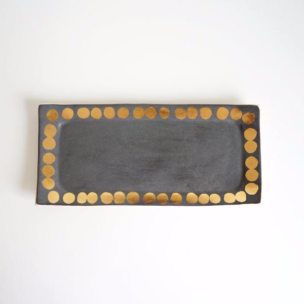 Charcoal Vanity Tray + Golden Polka Dots