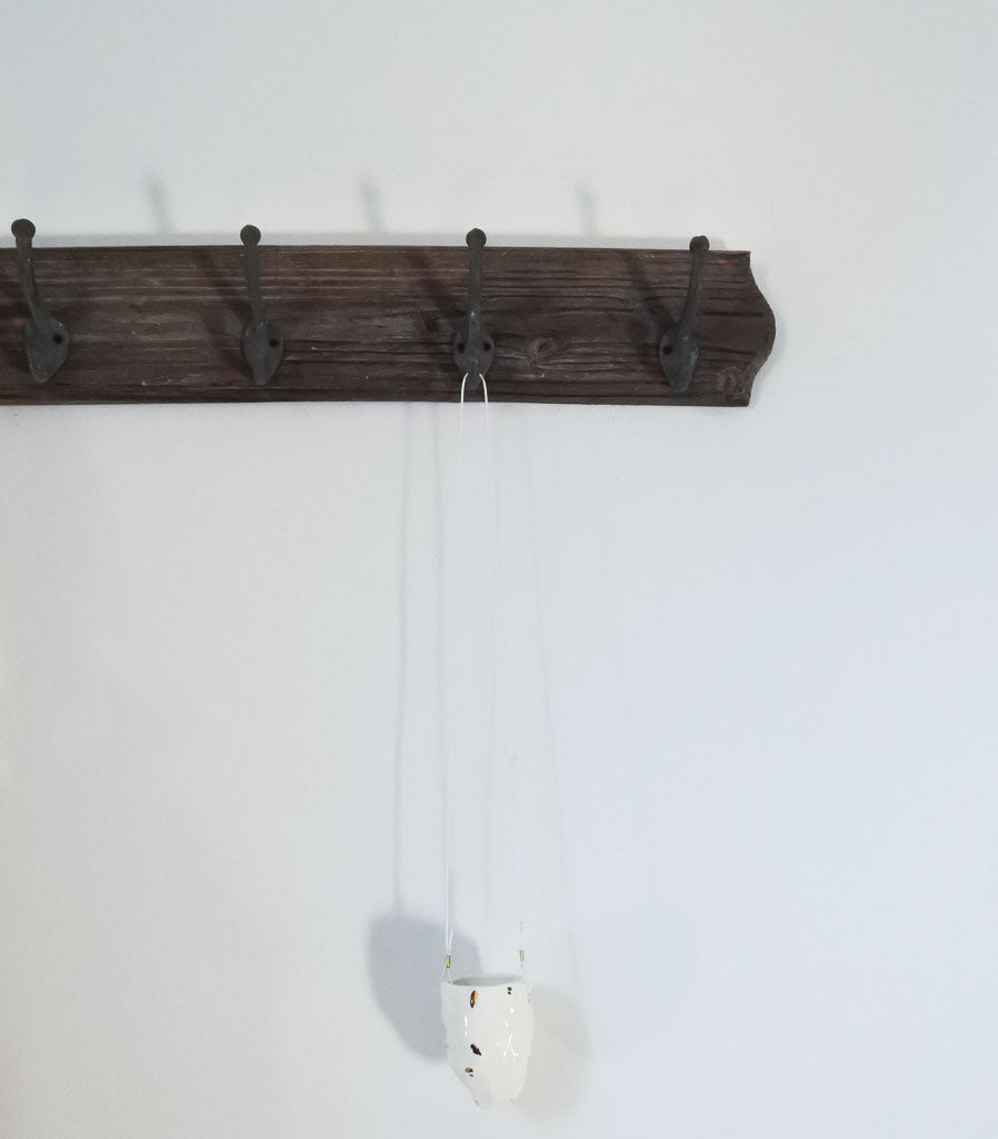 Hanging Facet Vessel with White Cord