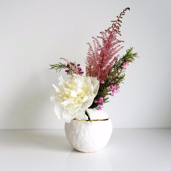 White Sphere Vase + Gold Stripe