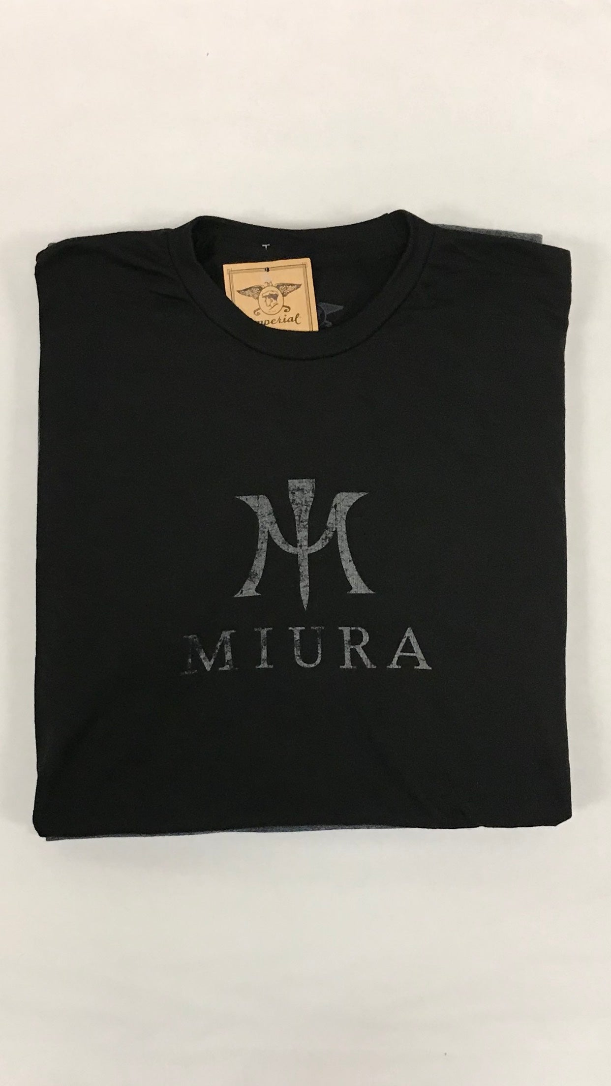 "Miura Heather Black ""M"" Gray Logo T-Shirt"