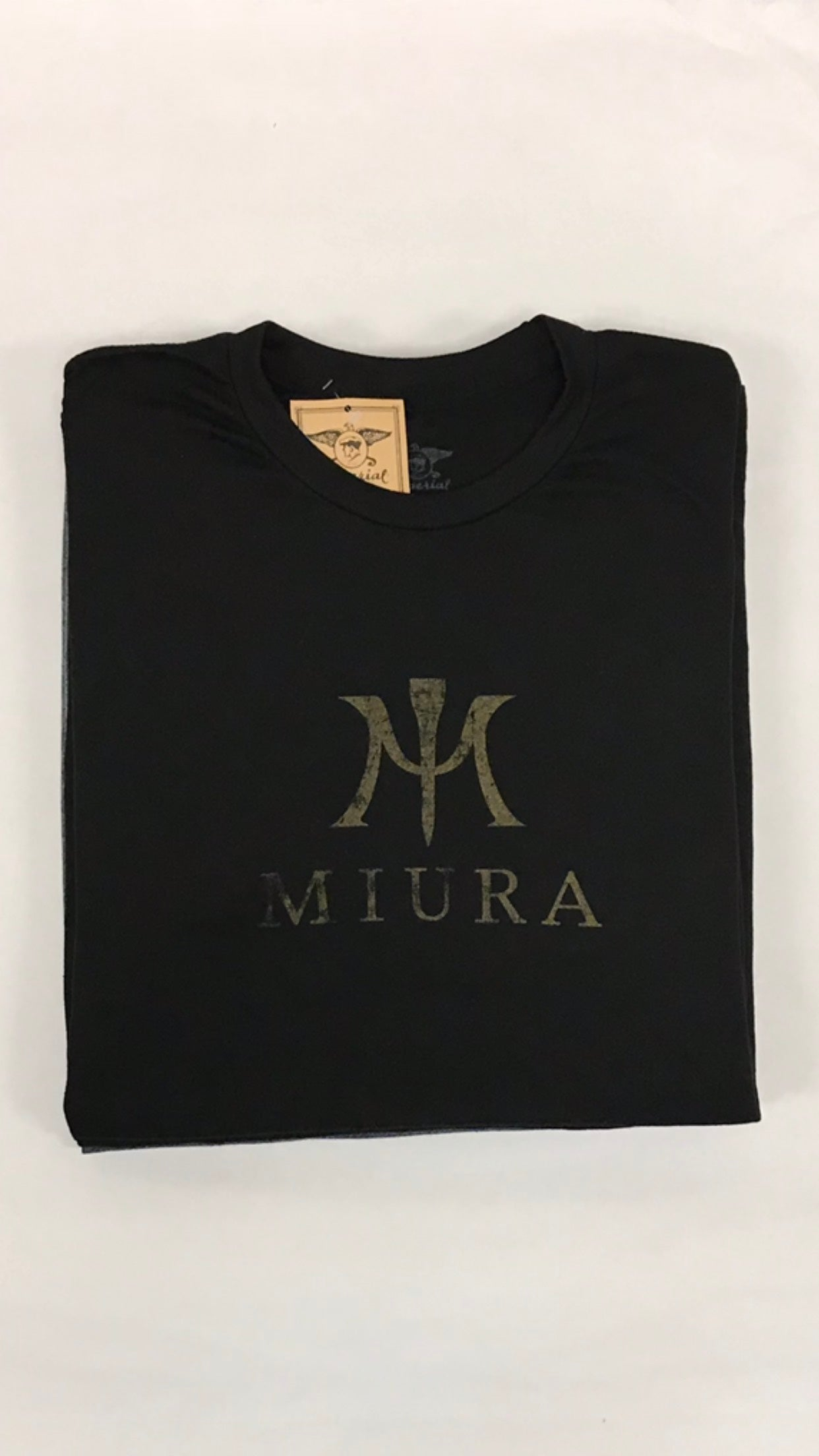 "Miura Heather Black ""M"" Gold Logo T-Shirt"
