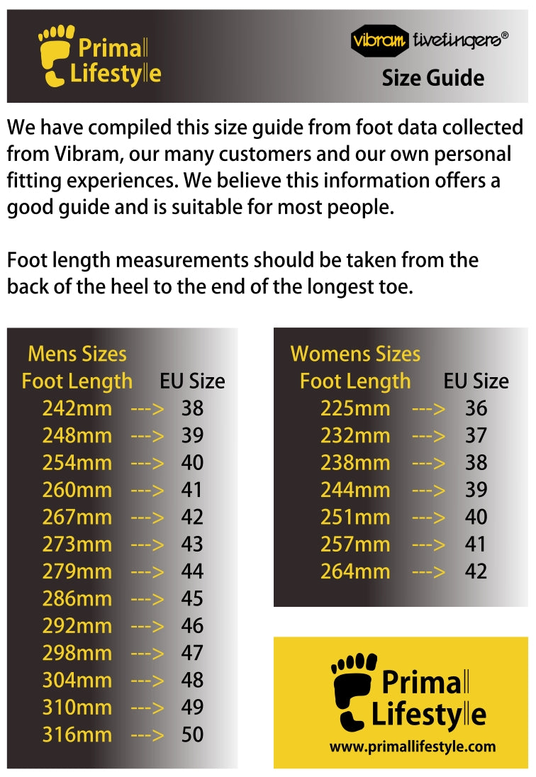 Primal Lifestyle Vibram Fivefingers Size Guide