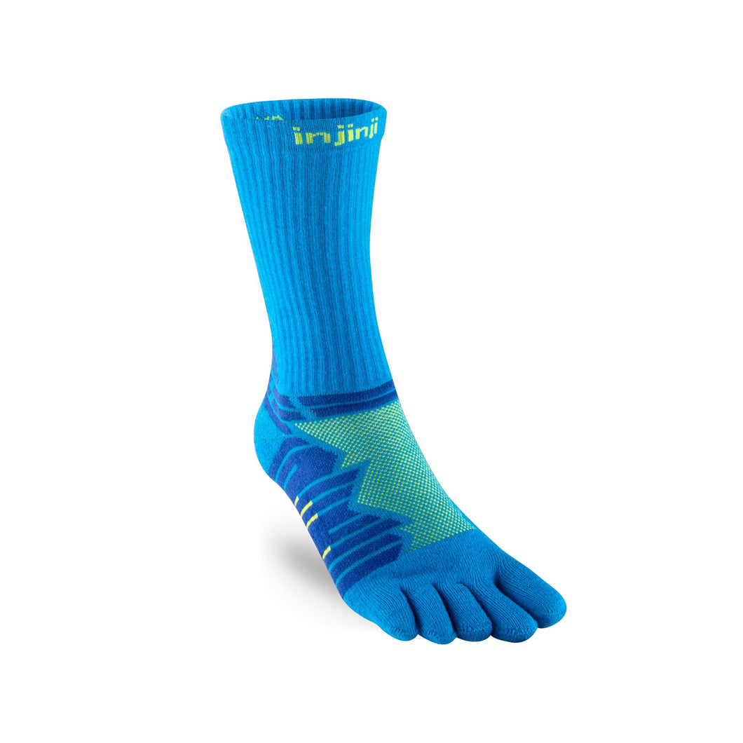 Injinji Toe Socks - Injinji Ultra Run Crew Blue Lime - Primal Lifestyle Barefoot