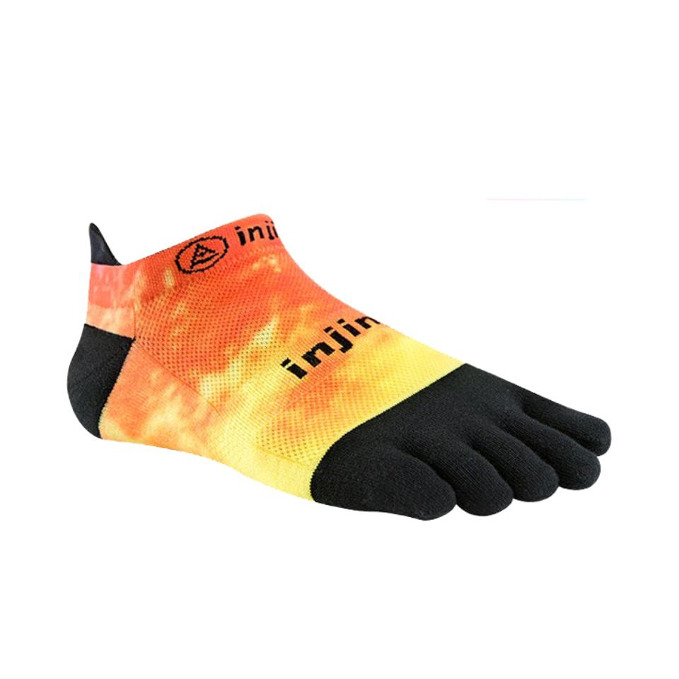 Injinji Toe Socks - Injinji Run Lightweight No Show Orange Flash - Primal Lifestyle Barefoot