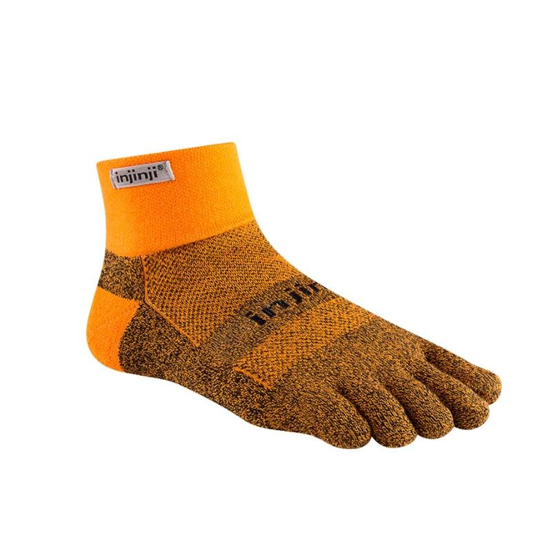Injinji Toe Socks - Injinji Trail Medium Weight Mini Crew Tangerine - Primal Lifestyle Barefoot