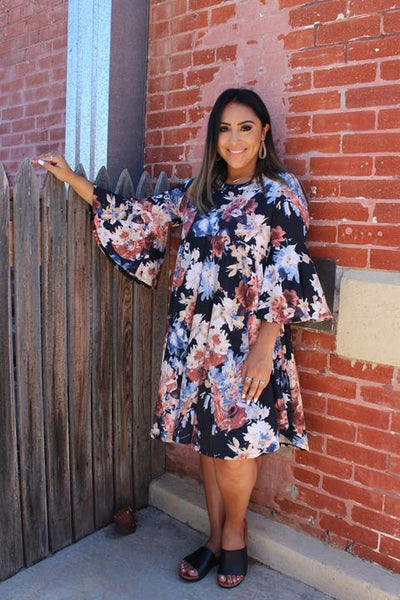 Navy with Beige Floral Pattern Dress