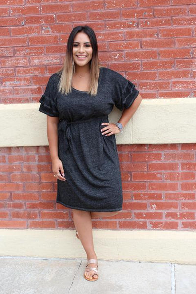Black Ruffled Sleeve Dress