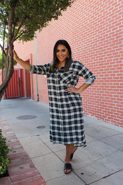 Navy Plaid Dress