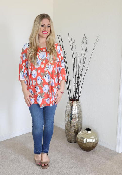 Coral and White Floral Top