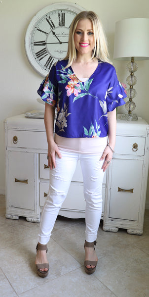 Silky Blue Floral Top