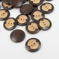 Pack of 20 Carven Wooden Buttons, 2-Hole, Flat Round, CoconutBrown, 30x5mm, Hole: 3mm