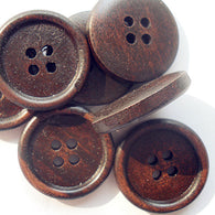 Pack of 20 Round 2-hole Basic Sewing Button, Wooden Buttons, CoconutBrown,  23mm