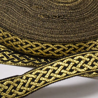 "1m Polyester Ribbon, with Tie Pattern, Gold, 1/2""(14mm)"