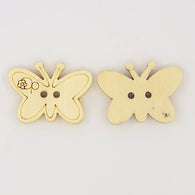 Carton Butterfly Buttons with 2-Hole, Wooden Buttons, Wheat, 17x23x3.8mm
