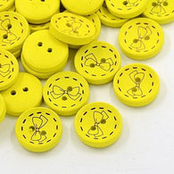 Pack of 20 2-Hole Wooden Buttons, Dyed Flat Round Button with Butterfly, Yellow, 18x4mm, Hole: 2mm