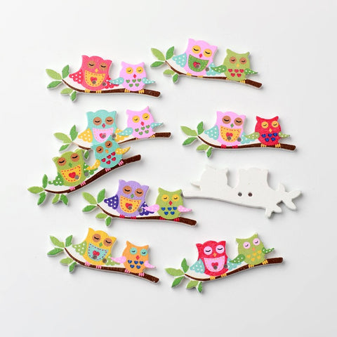 Owl 2-Hole Printed Wooden Buttons, Mixed Colour, 16x40x2.2mm, Hole: 1mm
