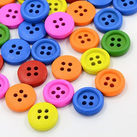 Pack of 20 Wooden Buttons, 4-Hole, Dyed, Flat Round, Mixed Colour, 13x3.5mm, Hole: 1mm