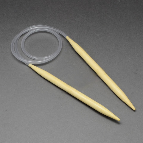 Rubber Wire Bamboo Circular Knitting Needles, LightYellow, 800x5.0mm