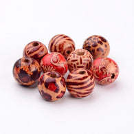 Pack of 50 Round Printed Wood Beads, Mixed Colour, 16x15mm, Hole: 5mm