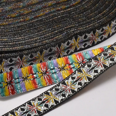 "1m Polyester Ribbon, with Flower Pattern, Black, 3/4""(18mm)"