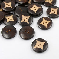 Pack of 20 Wooden Buttons, 2-Hole, Flat Round, CoconutBrown, 23x5mm