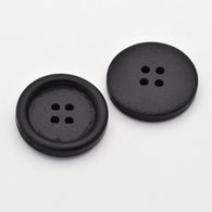 Pack of 20 4-Hole Dyed Wooden Buttons, Flat Round, Black, 25x4mm, Hole: 2mm