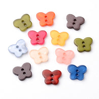 Pack of 25 2-Hole Dyed Resin Buttons, Butterfly, Mixed Colour, 14x11x2mm, Hole: 2mm