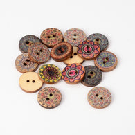 Pack of 20 2-Hole Flat Round Floral Pattern Printed Wooden Sewing Buttons, Mixed Color, 15x3mm, Hole: 2mm