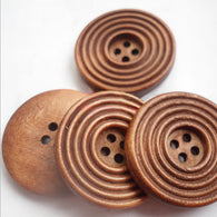 Pack of 20 Wooden Buttons, SaddleBrown, 30mm