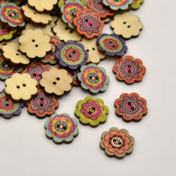 Flower Dyed 2-Hole Printed Wooden Buttons, Mixed Color, 19x2mm, Hole: 1mm