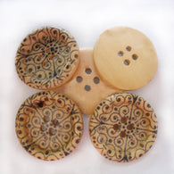 Pack of 96 Round Painted 4-hole Basic Sewing Button, Wooden Buttons, 25mm