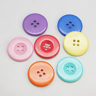 Pack of 20 Resin Buttons, Dyed, Flat Round, Mixed Colour, 13x2mm