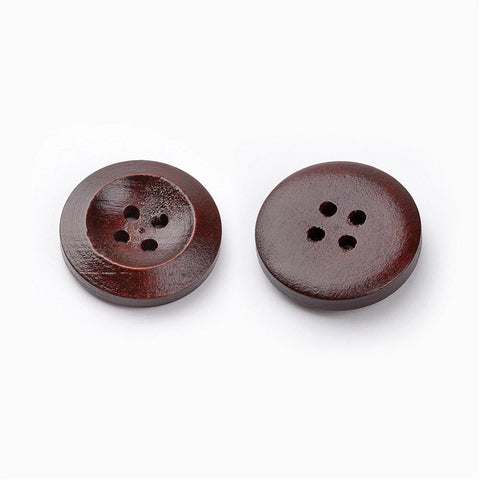 Pack of 20 Wooden Buttons, 4-Hole, Dyed, Flat Round, Coffee, 20x4mm
