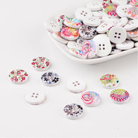 Pack of 20 4-Hole Wooden Buttons, Printed Flat Round Button, Mixed Colour, 15x3.5mm