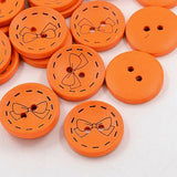 Pack of 20 2-Hole Wooden Buttons, Dyed Flat Round Button with Butterfly, DarkOrange, 23x5mm, Hole: 2mm