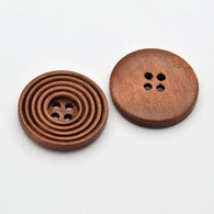 Pack of 20 Wooden Flat Round Buttons, 4-Hole, Dyed, SaddleBrown, 25x4mm, Hole: 2mm