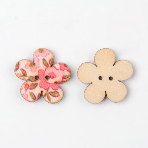 Printed Flower 2-Hole Wooden Buttons, Mixed Color, 20x20x2.5mm, Hole: 1mm