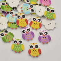 Owl Dyed 2-Hole Printed Wooden Buttons, Mixed Colour, 25x20x3mm, Hole: 1mm