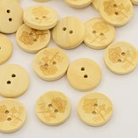 Pack of 20 Wooden Buttons,  2-Hole, Flat Round with Rose Flower Pattern, Moccasin, 20x20x4mm