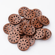 Pack of 20 Round Eyelet Sewing Buttons, Wooden Buttons, CoconutBrown, 30mm