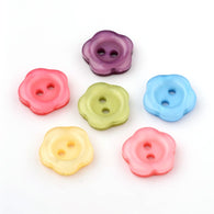 Pack of 25 2-Hole Flower Resin Buttons, Mixed Colour, 10x2mm, Hole: 1.5mm
