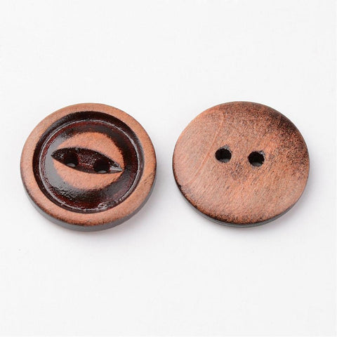 Pack of 20 Flat Round 2-Hole Wooden Buttons, Camel, 20x4mm
