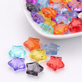Pack of 50 Transparent Mixed Colour Acrylic Star Beads, 14.5mm long, 15mm wide, 6mm thick, hole: 1.5mm