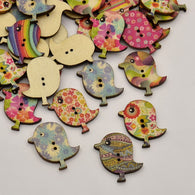 Bird Dyed 2-Hole Printed Wooden Buttons, Mixed Colour, 29.5x27x2.5mm, Hole: 1mm